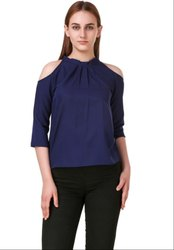 Navy Blue Solid Crepe Top