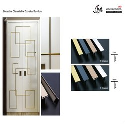 Decorative Golden Finish T Channel For Doors & Furniture 14 x 8 (MM)