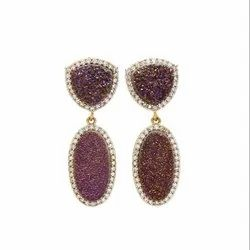 Purple Druzy Earring