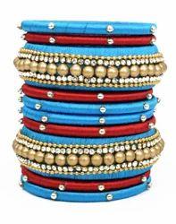 Blue and Maroon Silk Thread Bangle