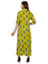 Rayon Green Color Half Sleeve Dress