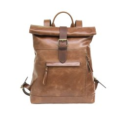 Genuine Buffalo Leather Roll Top Backpack Backpack For Trip and Tracking