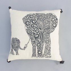 Cotton Elephant Family Print White Cushion Cover Digital Print Pillow Cover Bohemian With Pom Pom