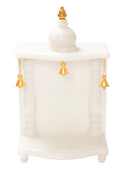 White Jade Onyx Marble (composite) Pooja Mandir, Size: Width-9