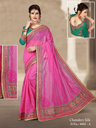 58a34259645208 Chanderi Silk Saree