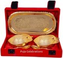 Metal Brass Gold & Silver Plated Bowl Set With Plate For Gift
