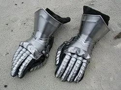 Silver Designer Arm Gloves Steel Greek Armour with Leather