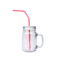 Clear Glass Mason Jar with Straw