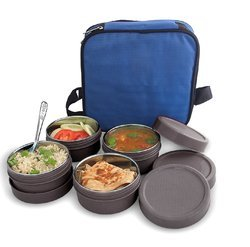 BMS Lifestyle Grey BMS Max Fresh 2 in1 Steel & Polypropylene Lunch Box Set, 8Pcs