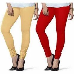 Churidar Red Plain Lycra Cotton Legging, Packaging Type: Packet