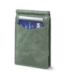 Minimallist Money Clip Leather Wallet-RFID Secured