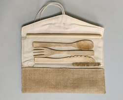Natural Bamboo Spoon And Fork, Size: 7