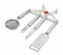 J-276  5 Pcs Utility Set ( Lighter 1 / Knife 1 / Peeler 1 / Grater  1 / Srainer 1 / Stand 1 )