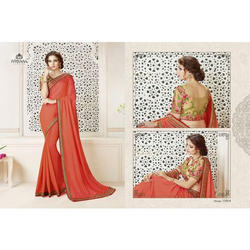 Ladies Berry Red Plain Banarasi Saree, Length: 5.5 m