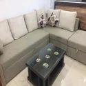 Solid Wood L Shape Sofa Set Combed