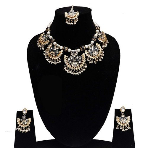 Wedding Indian Bollywood Black Color Five Pendant Necklace