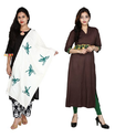 Womens Cotton And Tassar Silk Dupatta And Kurti White And Brown Color Pack of 2