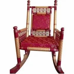 Red, Yellow Sankheda Wooden Rocking Chair, Finish: Polished