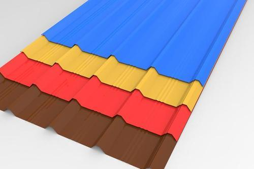 PInk And Tomato Red TATA Blue Scoop Roofing Sheet