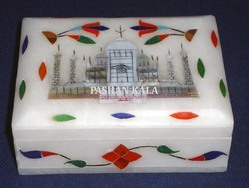 Marble Inlay Taj Mahal Decorative Box