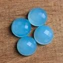 Blue Chalcedony Gemstone Round Shape Checker Cut Loose Gemstone