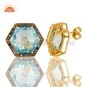 Blue Topaz Pave Diamond Stud Earring