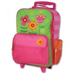 Pink And Green Printed Little Girls Rolling Luggage