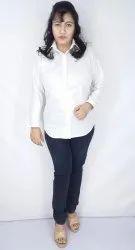 Formal Blue Women Full Sleeve Poly Cotton Shirt