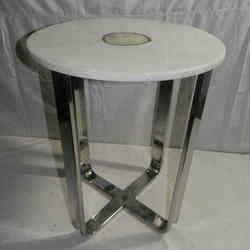 Silver And White Polished Steel Round Table
