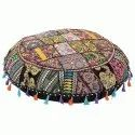 Black Indian Vintage Embroidered Home Decor Cotton Round Floor Cushions 32 Inches