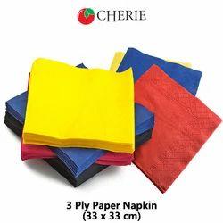 Plain Cherie Paper Napkin for Household and Restaurant, Size: 33*33 Cm