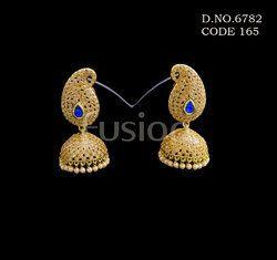 Traditional Polki Stone Jhumka Earrings