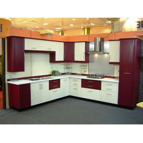 White And Red Wooden Kitchen Cabinet