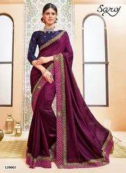 Fancy Designer Vichitra Silk Hand Work Embroidery Saree