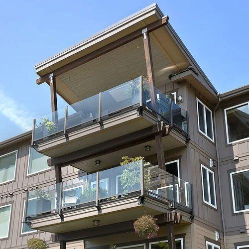 Panel Glass Frameless Balcony Railing, Rs 650 /feet ...
