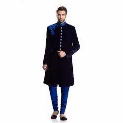 Diwan Saheb SW-1836 Mens Blue Embroidered Sherwani