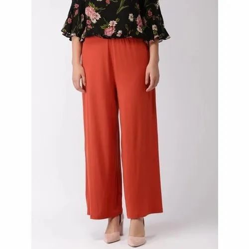 Rayon Regular Fit Red Palazzo Pants, Waist Size: 26-36 Inch