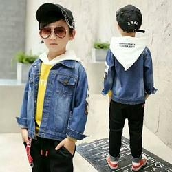 Blue 14 Inch To 28 Inch Boys Colored Denim Jacket