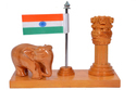 Wooden Wood Ashoka Stambh with Flag Elephant
