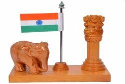Wooden Wood Ashoka Stambh with Flag Elephant