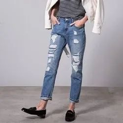 Stretchable Blue Ladies Rugged Denim Jeans, Packaging Type: Packet