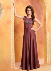 Two Tone Muslin Silk Party Wear Designer Kurtis