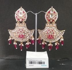 Designer Kundan Meenakari Earrings