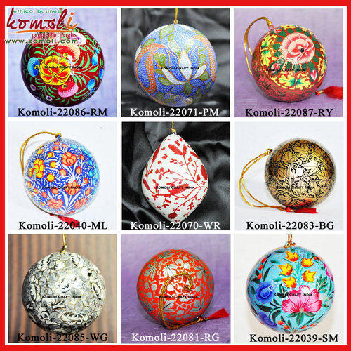 christmas ball hand painted ornament decoration paper mache - How To Decorate Christmas Balls