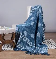 Blue Indigo Printed Mud Cloth Sofa Throw
