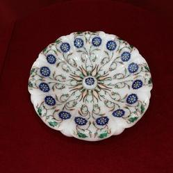 Marble Handicrfats Products White Marble Fruits Bowl Inlay Semi Precious Gems Stone, Size: 10x10 Inches