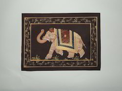 Multi Coloured Elephant Silk Painting