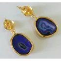 Handmade Druzy Gemstone Exclusive Brass Gold Plated Earrings