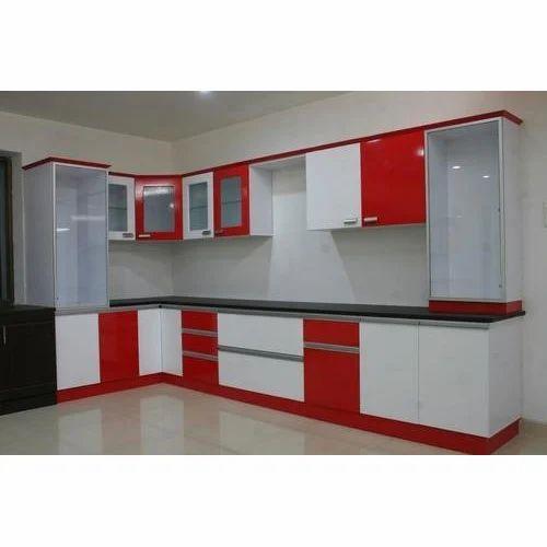 Modern L Shaped PVC Modular Kitchen