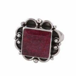 sjs red 925 Sterling Silver Ring With Corundum Ruby Gemstone